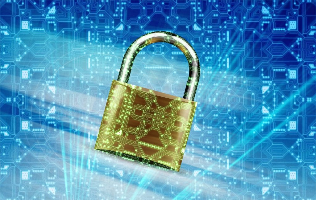 Image of a padlock securing data.